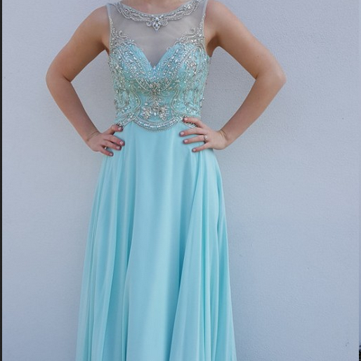 Elegant Long Blue Chiffon Formal Gown Featuring Sheer Neck --- Prom Dresses, Evening Gowns