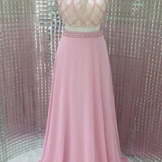 Sexy Long Pink Halter Chiffon Formal Gown Featuring Sheer Neck, 2 Piece Prom Dresses, Evening Gowns