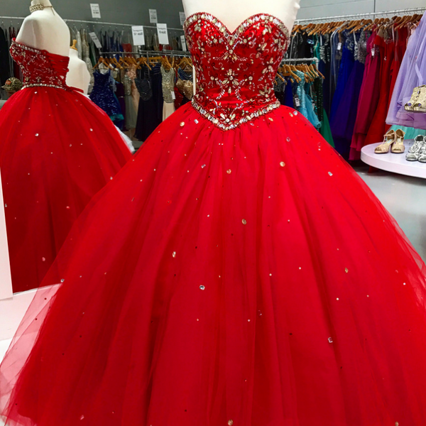 Brilliant Red Prom Dresses Featuring Sweetheart Neckline And Rhinestone Bodice, Tulle Ball Gown Evening Dresses, Formal Gowns