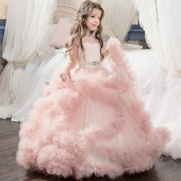 pink flower girl dress tulle girls dresses for party and wedding,first communion dresses for girls