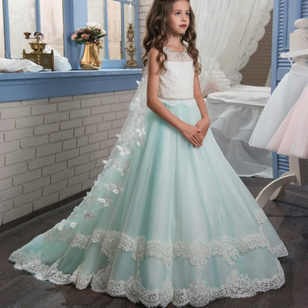 light green flower girl dress,girls flower girl dresses wedding