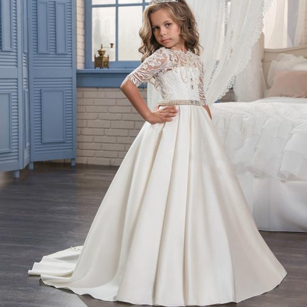 flower girl dress with lace bodice and satin skirt,2018 new flower girl dresses wedding