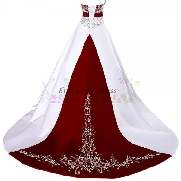 2019 Wedding Dresses,Burgundy Wedding Dresses,Ball Gown Wedding Dresses,Beaded Embroidery Wedding Dresses, Vintage Wedding Dress,Long Satin Wedding Dresses,Plus Size Wedding Dresses,Wedding Gowns,Bridal Dresses