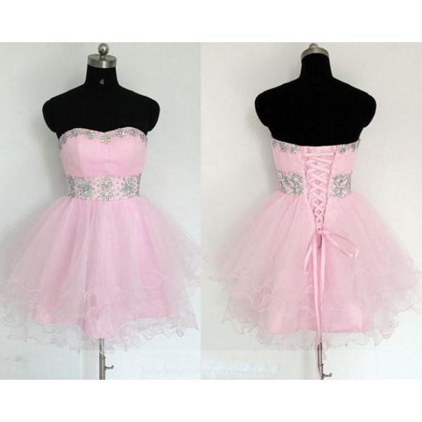 Custom Made Pink Crystal Embellished Sweetheart Neckline Tulle Lace-Up Formal Dress, Cocktail Dress, Evening Dress, homecoming Dress, Bridesmaid Dress