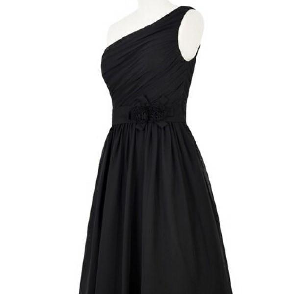 Short Black Chiffon Dress Featuring One Shoulder Ruched Bodice with Floral Embellished Belt