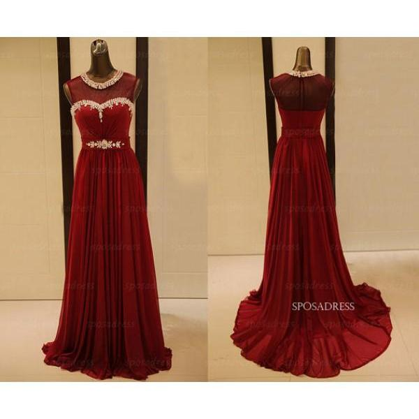 Prom Dress,Burgundy Prom Dresses,Floor Length Sheer Neck Prom dresses,Custom Made Prom Dress,Long Elegant Prom Dresses,2016 Prom Dresses,Prom Dresses
