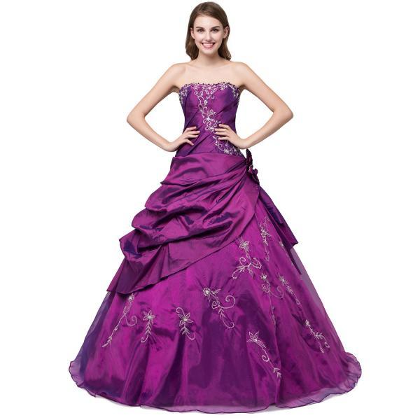 Purple Taffeta Embroidered Formal Dresses Showcases Sweetheart Neckline And Flower At Side - Quinceanera Dresses,Sweet 16 Dresses,Debutante Gowns,Party Dresses