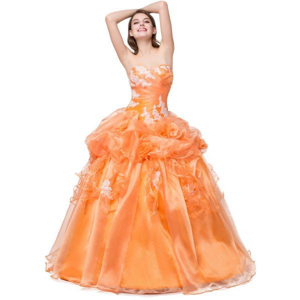 Orange Lace Appliqué Orange Ball Gown Showcases Sweetheart Neckline And Ruffles- Formal Dresses,Debutante Gowns,Party Dresses