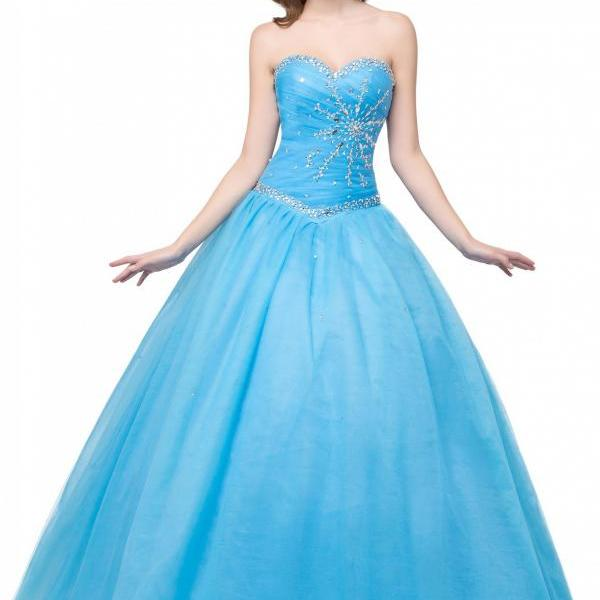 Blue Tulle Formal Gown Showcases Sweetheart Neckline And Rhinestones Beaded Bodice -Prom Dresses,Debutante Gowns,Party Dresses