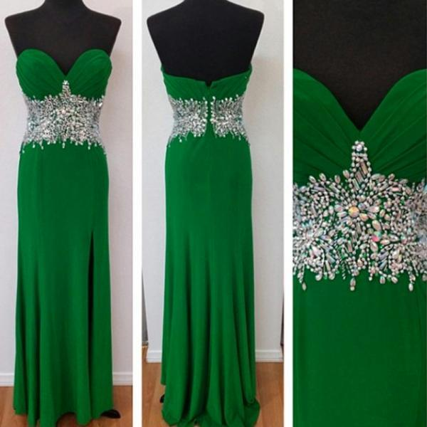Green Floor Length Beaded Chiffon Evening Dress Featuring Ruched Bodice And Side Split Long Elegangt Formal Prom Dresses