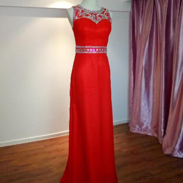 Red Floor Length Chiffon Formal Dresses Featuring Rhinestone Beaded Bodice And Court Train -- Prom Gown, Evening Dresses