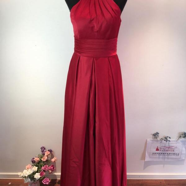 Floor Length Satin Red Formal Dresses Featuring Beaded Halter Neckline -- Prom Gown, Evening Dresses