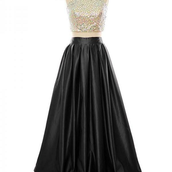 Floor Length Satin Backless Formal Dresses Featuring Rhinestones Halter Neckline -- Two Piece Prom Dress, Evening Gowns