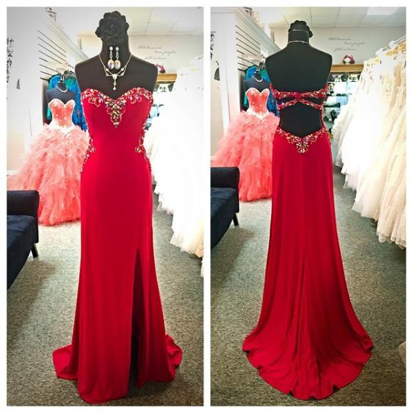 Red Floor Length Chiffon Prom Gown Featuring Sweetheart Beaded Bodice With Side Split
