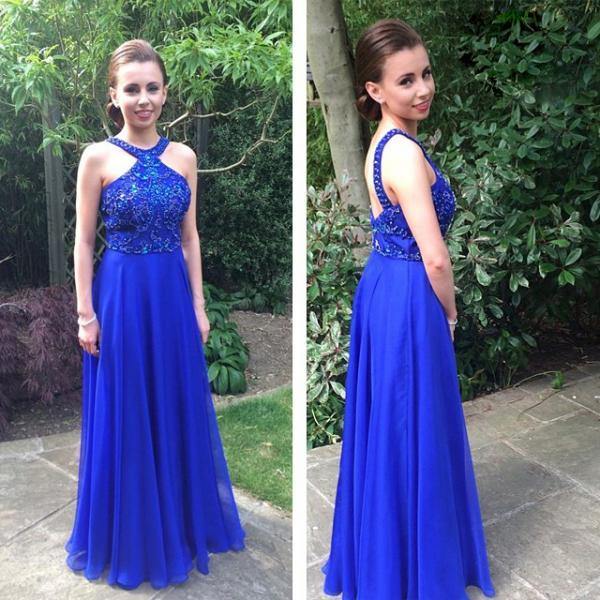 Elegant Long Royal Blue Chiffon Prom Gown Featuring Beaded Scoop Bodice