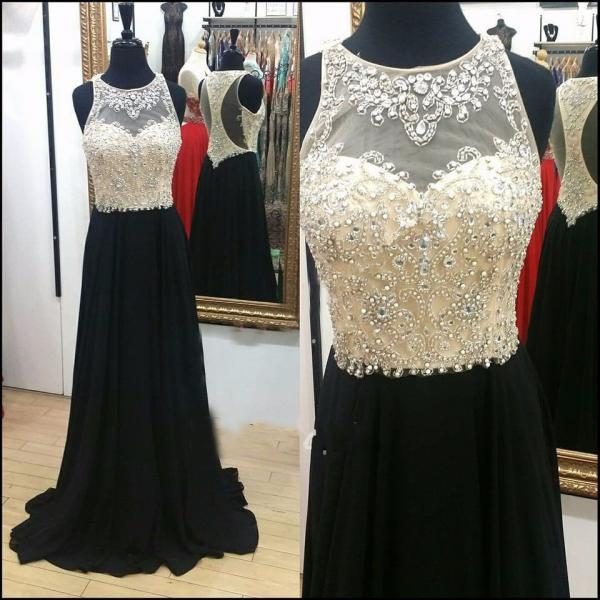 Charming Black A Line Prom Dresses Chiffon Off The Shoulder Evening Gowns With Beaded Bodice