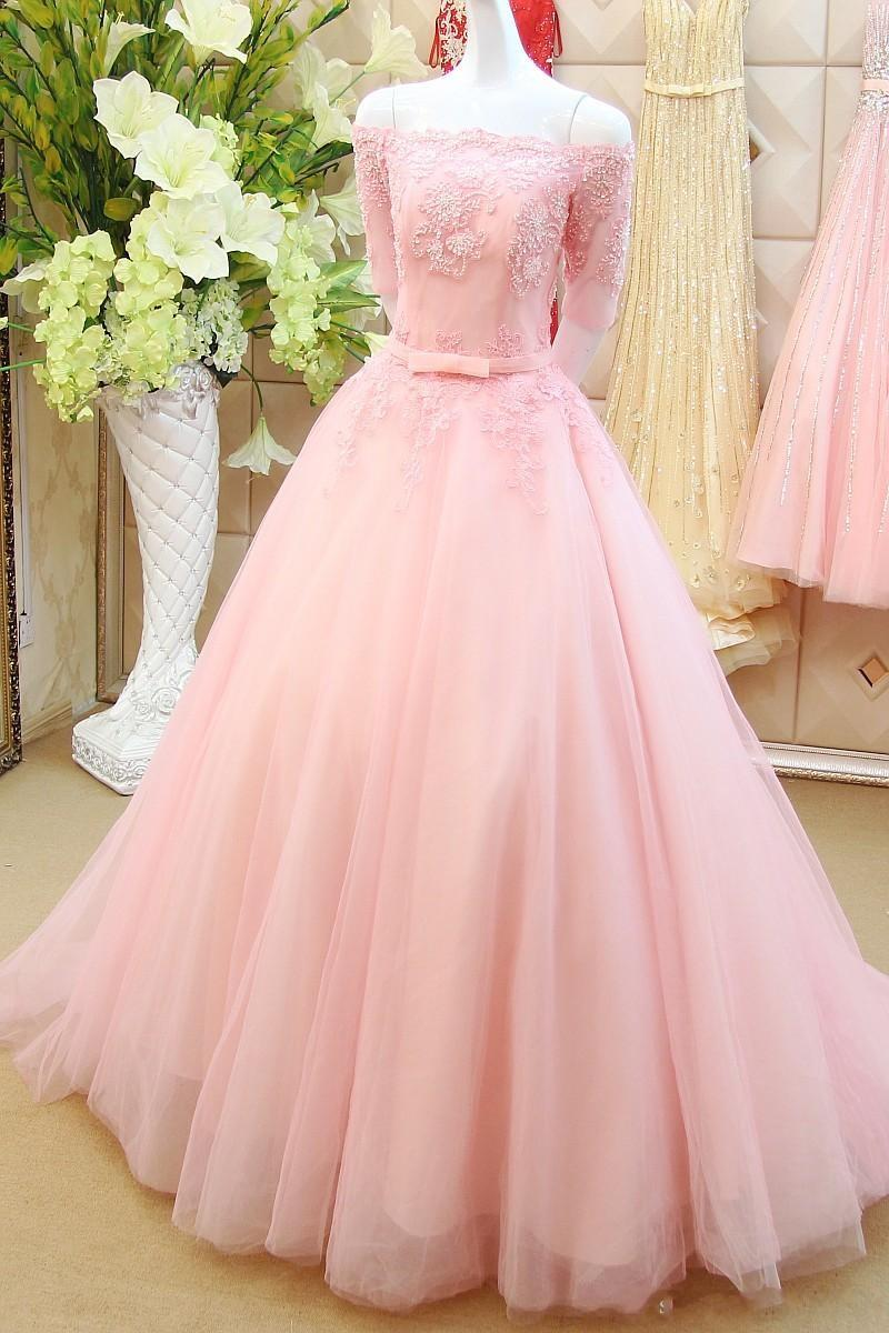 Elegant Long Pink Prom Dresses Sexy Boat Neck Half Sleeve