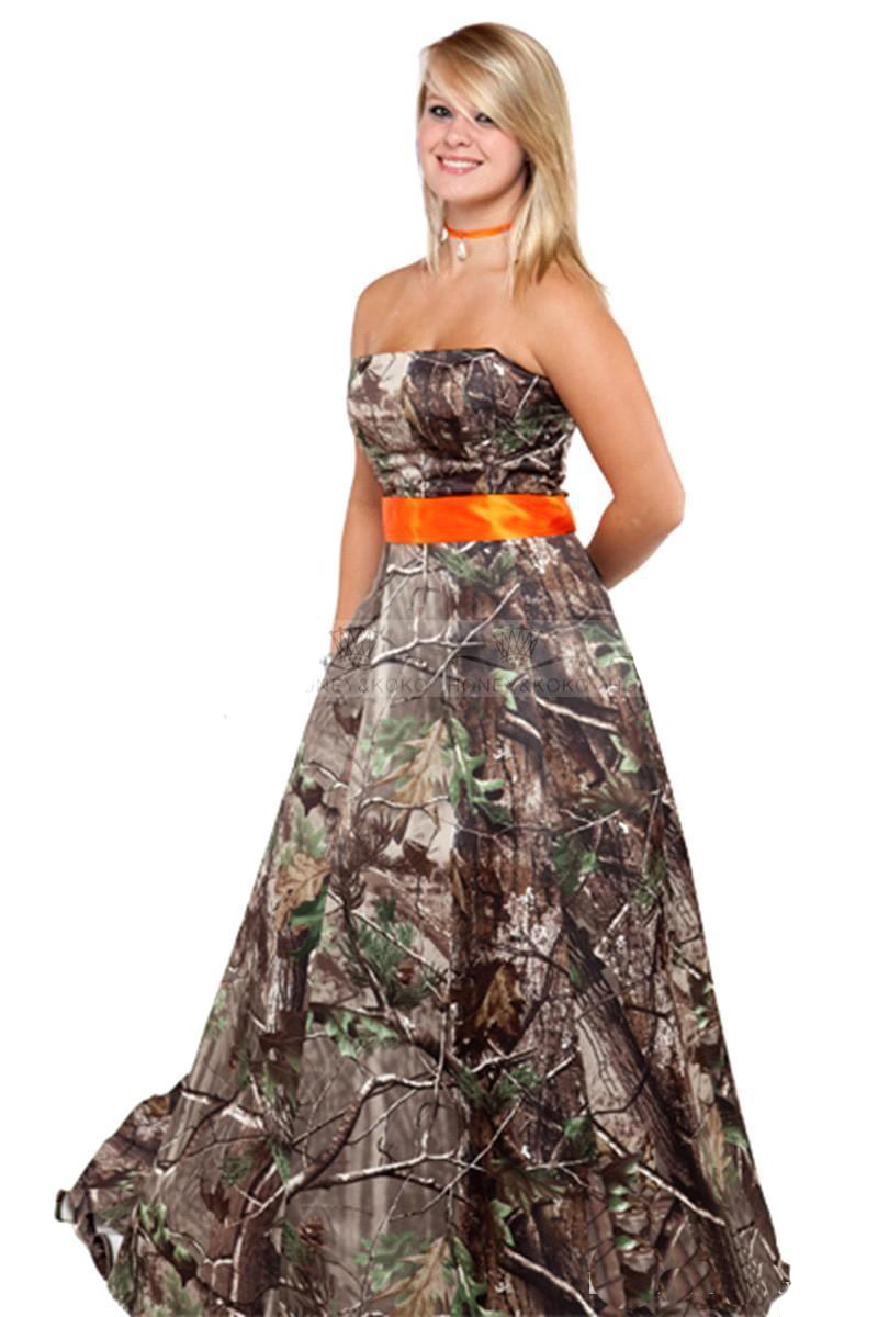 2016 New Arrival Chapel Train Camo Sweetheart Strapless